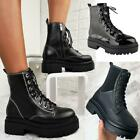 Womens Chunky Lace Up Military Ankle Boots Black Winter Comfy Thick Sole Shoes