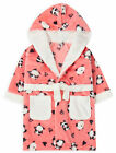 Girls Panda Print Dressing Gown New Fleece Hooded Pastel Robe Ages 2 - 6 Years