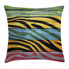 Zebra Print Throw Pillow Cushion Cover Colorful Animal