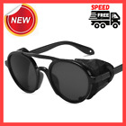 Mens Cyber Steampunk Sunglasses Side Shields Vintage Leather Round Retro Style