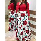 Women Boho Floral Long Sleeve Maxi Dress Casual Party Cocktail Splice Dress