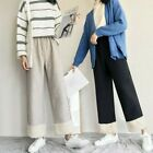 Lady Faux Wool Pants Wide Leg Trousers Elastic Waist Straight Cropped Loose Soft