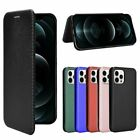 For Iphone 12 Pro Max Xr X 8 7 Carbon Fiber Flip Leather Card Slot Protect Case