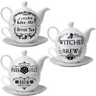 Alchemy Gothic Tea For One Set Freaks Like Me Witches Purrfect Brew Cat Teapot