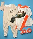 NIKE Baby GIRL 4Pc GIFT SET: Coverall, Bodysuit/Romper, Cap  Booties, 0-6Months