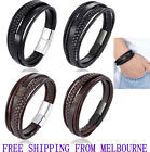 Stainless Steel Buckle Leather Bracelet Bangle Cuff Vintage Wristband Rope