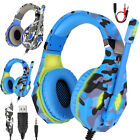 Gaming Headset Mic Stereo Bass Surround LED Headphones 3.5mm For PS5/Xbox One/PC