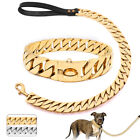 30mm Thick Gold Dog Chain Collar and Leash Training Choker Link Stainless Steel