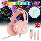 Gaming Headset With Microphone USB 4D Stereo LED Headphones For PC Computer UK
