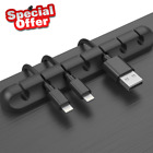 US Cable Clip Grip Desk Wall Organizer Desktop Wire Cord Type USB Charger Holder