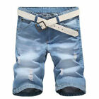 Men Denim Cargo Short Jeans Trousers Thigh Ripped Holes Casual Shorts Jean Pants