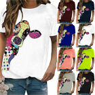 Plus Size Womens Cow Print Short Sleeve Tops Blouse Summer Casual Baggy T-Shirts