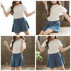 Summer Girls Stylish Cotton Outfits Lace T-shirt Denim Skirts Set Casual Clothes