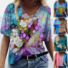 Women Short Sleeve V Neck T Shirt Casual Floral Tie Dye Printed Blouse Loose Top