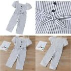 Kids Girls Stripes Jumpsuits One-piece Romper Pants Square Neck Summer Bodysuits