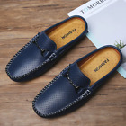 Men Hollow Out Leather Slippers Soft Half Loafers Mules Casual Summer Flat Shoes