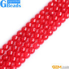 Red Jade Faceted Round Beads For Jewelry Making Design Free Shipping 15""