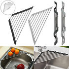 Kitchen Dish Drainer Foldable Roll Up Drying Rack Over Sink Stainless Steel Hold