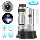 Pocket 20-40x Zoom LED Lighted Microscope Magnifier Loupe Glass Jewelry Handheld