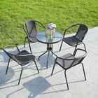 Outdoor Garden Rattan Furniture Dining Set Round Table 2-4 Chair Seater Balcony