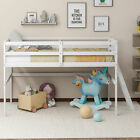 Wooden Twin Size Low Loft Bed with Ladder Bed Frame Kids Bedroom Furniture US