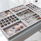 3pc Velvet Jewelry Storage Tray Earring Ring Necklace Display Case Box Organizer