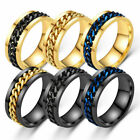 Fidget Spin Chain Stainless Steel Ring Band Titanium Black Silver Gold
