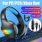 Gaming Headset Mic 7.1 Surround Sound RGB LED Headphone for PS4/Xbox ONE/MAC/PC