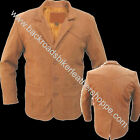 MENS 3 BUTTON BROWN LEATHER DRESS BLAZER COAT SUIT