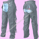Ladies Women's Leather Motorcycle Biker Chaps with Fringe...