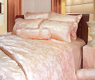 4 pcs 19M/M Seamless Jacquard Pure Silk Duvet Cover Fitted Sheet Pillow Sham Set