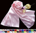 Womens Ladies 100% Pure Silk Long Hip Scarf Shawl 55cmx160cm 30 colours