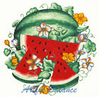 Ceramic Decals Watermelon Fruit Scene Flowers  Slices image