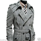 (VDC) TheLees Mens Double Breasted Belted Wood Trench Coat BLACK GRAY NAVY