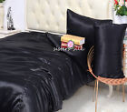 4 PCS 22MM 100% PURE SILK SATIN DUVET COVER FLAT SHEET PILLOWCASE SET ALL SIZE