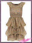 Womens Khaki Flora Cinched Waist Rara Ruffle Dress New