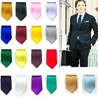 Men's Silk Solid Tie Wedding Grooms Plain Necktie SH