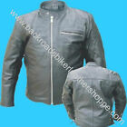 MENS BUFFALO LEATHER CRUISER MOTORCYCLE BIKER JACKET