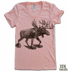 Women's MOOSE Snow Shoes t shirt american apparel SM-XL