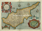 Ortelius Cyprus Old Colour Cypriot Color Antique Map