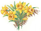 Ceramic Decals Yellow Daffodil Floral Flower Fern Bunch image