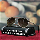 NEW MENS 80'S AVIATOR SUNGLASSES RETRO VINTAGE FASHION OUTLINE LENS BLACK 50MM