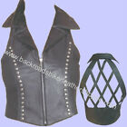 LADIES WOMENS LEATHER HALTER TOP CLUB BIKER SILVER STUD TRIM LATTICE BACK