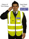 HI VIS  EXECUTIVE  VEST WAISTCOAT YELLOW REFLECTIVE SECURITY PRINT back & front