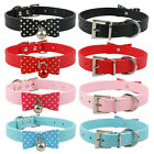 (4 Colors) Bow knot Cute Leather Dog Puppy Collars Cat Collars with Bell S M L