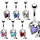 Dolphin With Crystal Heart Navel Belly Bar