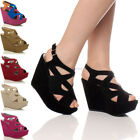 WOMENS LADIES PLATFORM HIGH HEEL WEDGE SHOES STRAPPY SANDALS SIZE