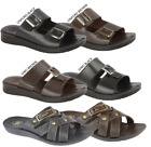 MENS LEATHER LOOK SLIP ON BEACH MULE SANDAL.BLACK & BROWN *ONLY£5.99*
