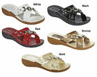 LADIES BLACK WHITE RED BRONZE GOLD DIAMANTE SLIP ON LOW WEDGE MULE SANDAL SIZES