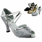"Women's Salsa Ballroom Tango Black Gold Silver Dance Shoes 2.5/3"" Very Fine 2721"
